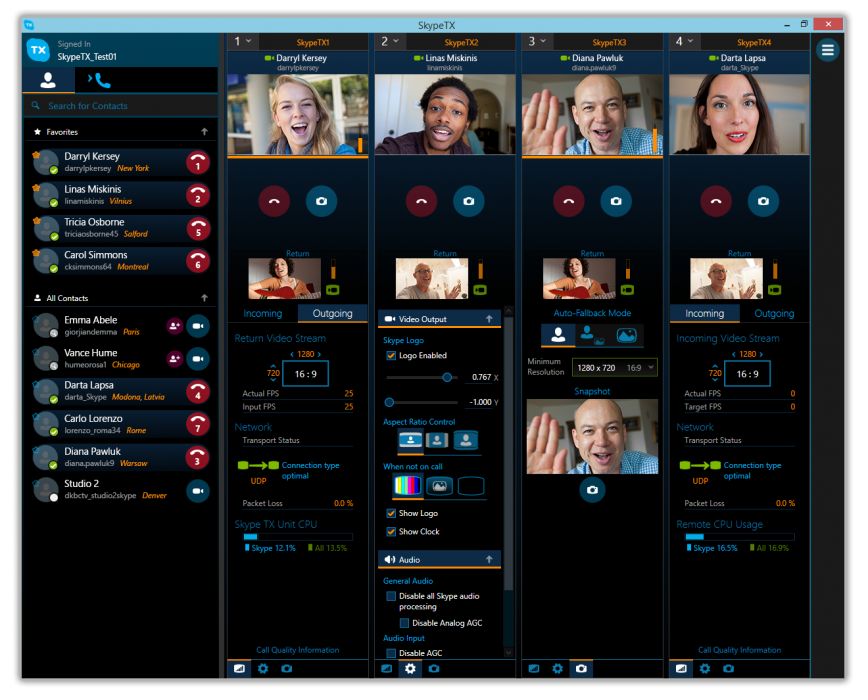 Skype TX Controller interface